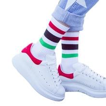 Korean Fashion Colorful Breathable Striped Sock School Meias Calze Warm Sweat Tube Cute Stripe Hosiery Women Crew Socks 10 Pairs