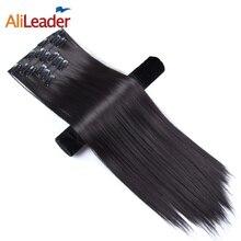 Alileader, накладные волосы на застежке, 22 дюйма, накладные волосы на 16 Цвета для наращивания на всю голову, 16 клипс, волосы для наращивания на синтетические шиньоны для Для женщин 6 шт./компл. длинные волосы