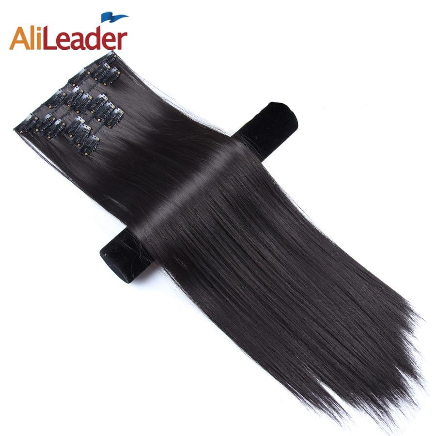 Alileader, накладные волосы на застежке, 22 дюйма, накладные волосы на 16 Цвета головка 16 заколки для волос Синтетические шиньоны для Для женщин 6 ш...