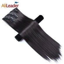Alileader Clip en extensiones de cabello de 22 pulgadas 16 colores cabeza 16 Clips en el cabello sintético postizos para mujer 6 unids/set pelo largo