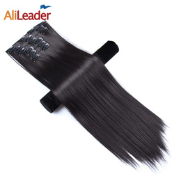Alileader Clip In Hair Extensions 22 Inch 16 Colors Head 16 Clips On Hair Synthetic Hairpieces For Women 6Pcs/Set Long Hair