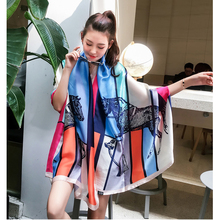 NEW Summer scarf women shawl Colorful horse silk neckerchief bandana soft travel Beach for ladies long scarfs
