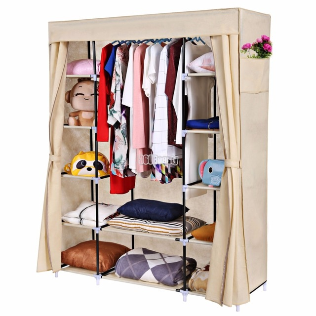 Homdox Portable Closet Storage Organizer Clothes Wardrobe Shoe Rack Shelves Cover Side Pocket N20
