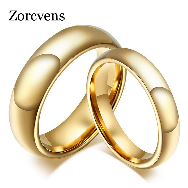 ZORCVENS Fashion 100% pure tungsten rings 4MM/6MM wide Gold-Color wedding rings for women and men jewelry gold earrings for women