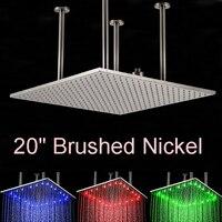 Оптовая и розничная LED Цвет Изменение 20 квадратный Никель щеткой дождь Насадки для душа на потолке верхний душ опрыскиватель головы