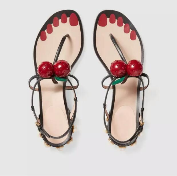 ФОТО BERDECIA ladies sandals beach shoes for women with loe square pearls heels cherry and leaf decoration women sandals 2017 Summer