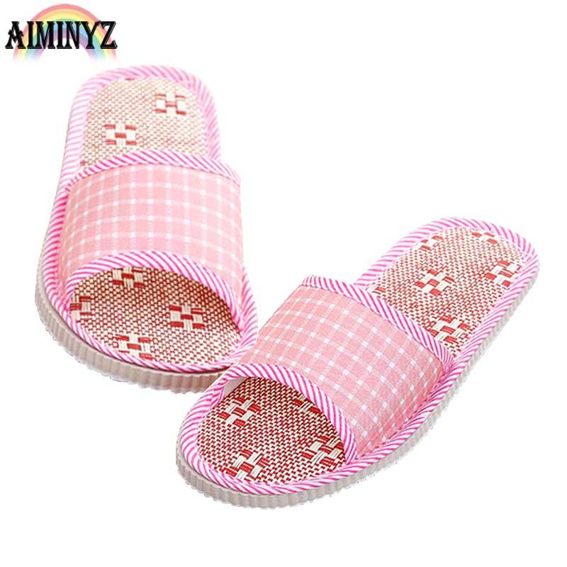 Linen Gingham Women Slippers Guest Platform Customer House Summer Flax Shoes Lovers Indoor Bedroom Sandals Floor Scottish Cool
