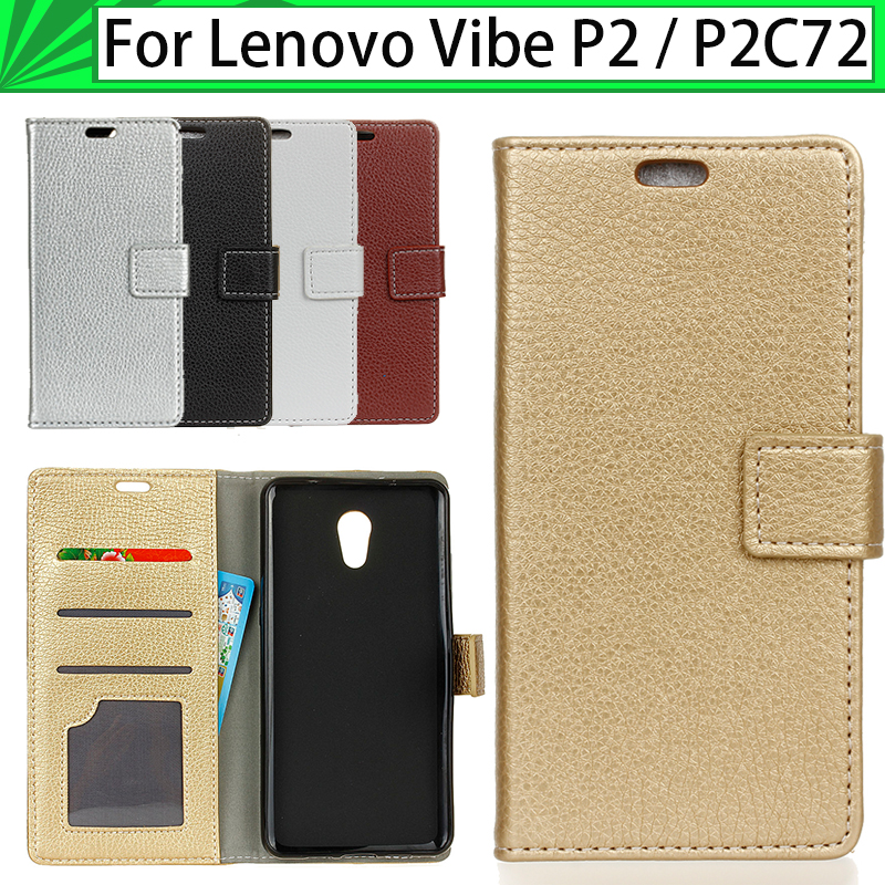 JURCHEN Case For Lenovo Vibe P2 C72 P2C72 Case Cover Luxury Litchi Pattern Leather Flip Stand Soft For Funda Lenovo P2 Case 34