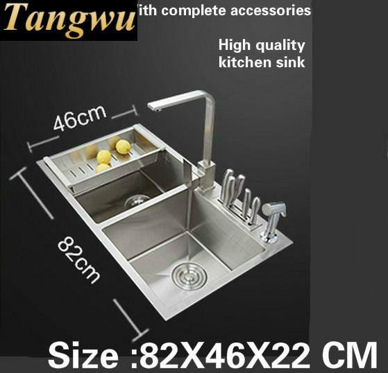 Tangwu Handmade High End Kitchen Sink 4 Mm Thick Food Grade 304 Stainless Steel Wash Bowl Double Groove 82 X46x22 Cm In Sinks From Home