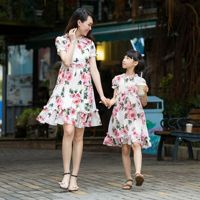 Europe Mother Daughter Dresses Matching Clothes Family Look Girl and Mother Dress Chiffon Beach Dresses Outfits Girls dresses
