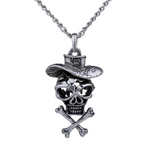 MYTHIC AGE Antique Silver Cool Hollow Pirate Skull Long Chain Vintage Punk Necklace Jewelry Bijouterie for Women Men punk style multilayered paw skull sweater chain for women