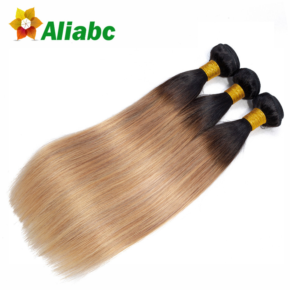 Aliabc Pre colored Malaysian 10 26 Inch Straight Hair Weave 3 Bundles T1B 27 Non Remy