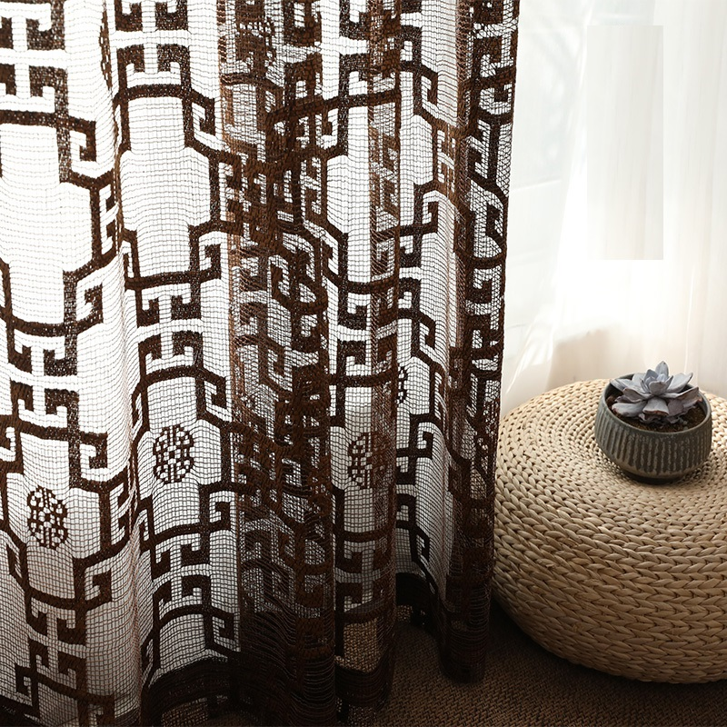 Yvonicole Custom Made Chinese Style Curtains Grid Pattern Voile Curtains Chinoiserie Tulle Living Room Drapes Gauze Net Curtains|Curtains| |  - title=