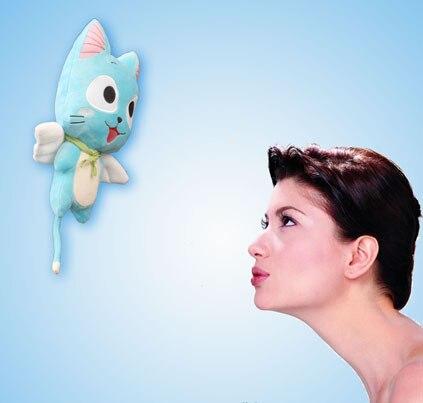 Figuras de acción de Fairy Tail, juguete de peluche de 30-58cm con diseño de Gato Azul feliz, juguete suave para niños