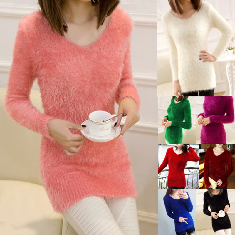 2018 New Women Korean Style Fluffy Mohair knitted Jumper Solid Color Long Sleeve V-neck Sweaters Pullover Tops One Size