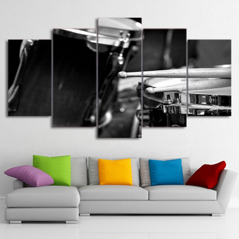 5 pieces canvas art Paintings Printed Musical Instrument Drums Wall Art Canvas Pictures For  Modular Living Room Bedroom Home    no frame canvas