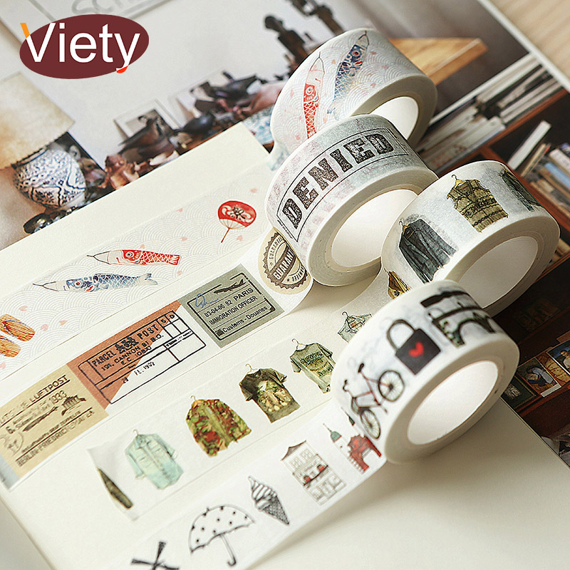15-40mm*7m Vintage Travel Stamp Washi Tape DIY Decoration Scrapbooking Planner Masking Tape Label Sticker Stationery