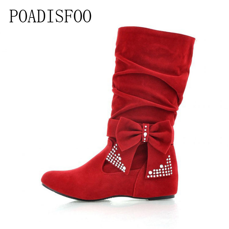 POADISFOO new winter women snow Boots Casual Flat Flock Fashion Sweet Butterfly-knot Crystal mid calf women Shoes women.KYL-732 wella стойкая крем краска koleston perfect 60 мл 116 оттенков 6 00 темный блонд натуральный