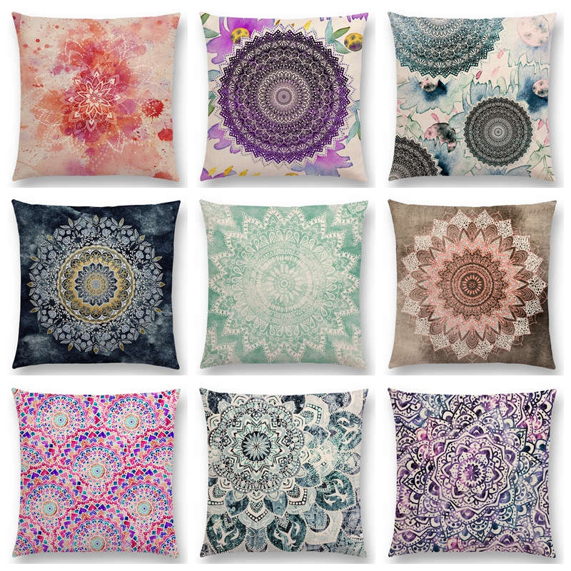 dreamy rainbow boho beautiful flowers gorgeous floral mandalas fantasy moon stars prints cushion cover sofa throw pillow case - Decorative Pillows Cheap