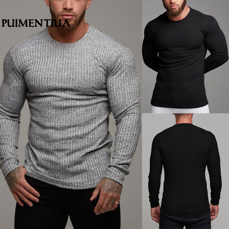Puimentiua 2019 Men's Autumn Casual Knit Sweater Slim  Solid Muscle Long Sleeve Plain Top Curved   Fashion Sweaters