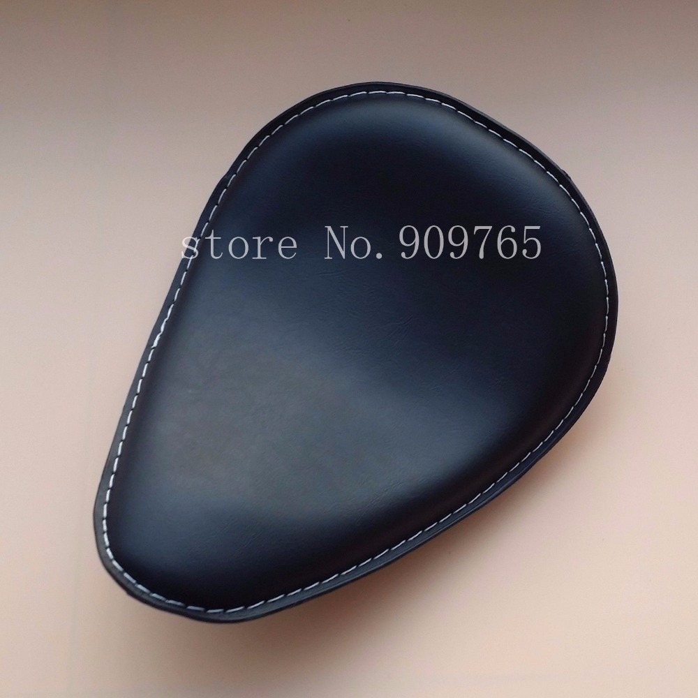 Black Leather Solo Seat for Harley Honda Kawasaki Suzuki Yamaha Cruiser Chopper Vintage Bobber Custom
