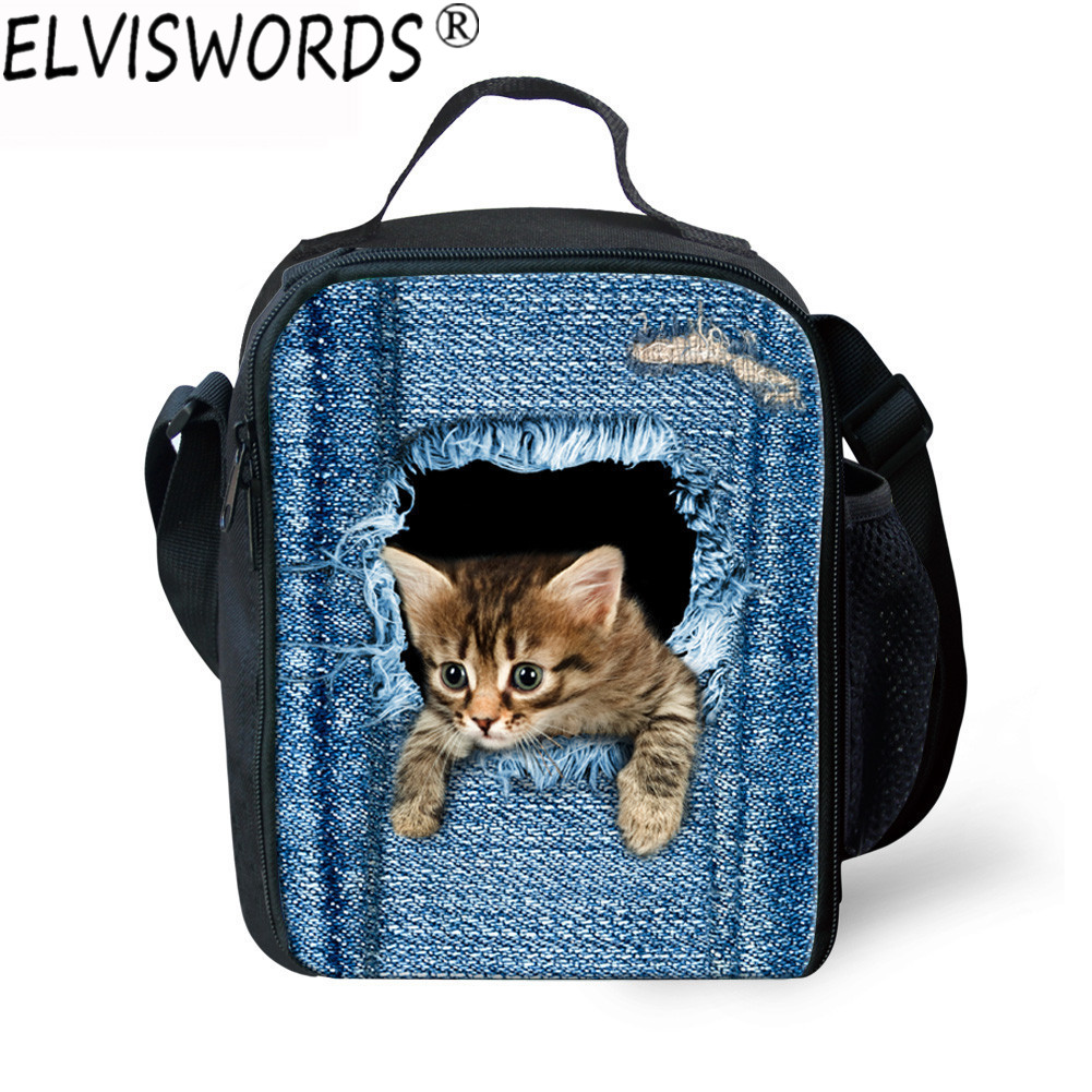 ELVISWORDS Women Portable Lunch Bags Girls Insulated Launch Box Bag Picnic Work Thermal Bag Cooler Food