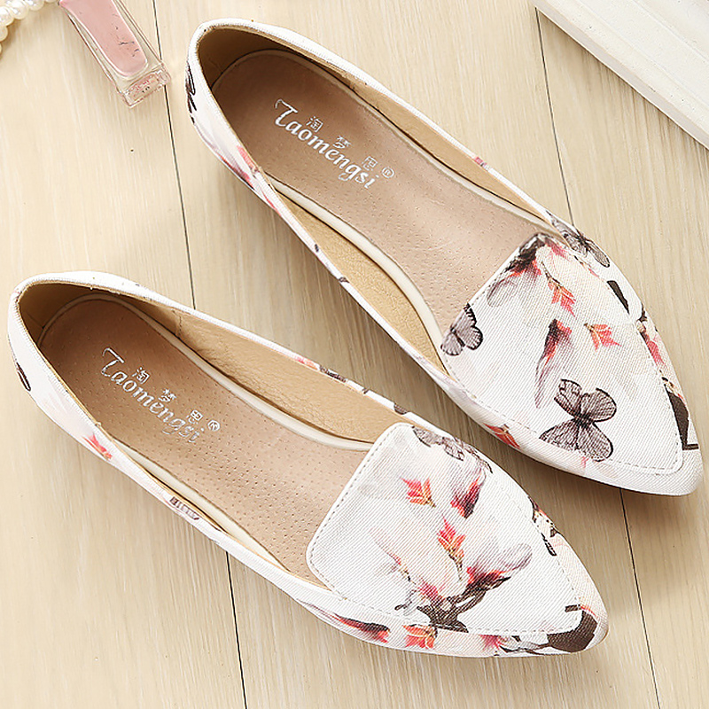 Shoes woman leather loafers ethnic pointed toe causal shoes breathable sewing totem flower slip-on shoes plus size 34-43