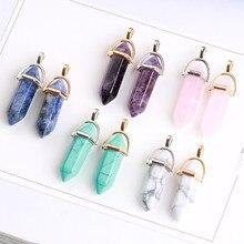 MRHUANG 10pcs/pack Wholesale Popular Bullet Shape Natural Stone Pendants Quartz Crystal Mulit Color Necklace Pendulums Charms