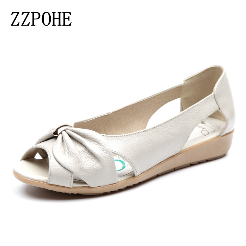 цены  ZZPOHE Summer Ladies Fashion Sandals middle-aged soft leather fish head sandals large size slope comfortable Woman shoes 41 42