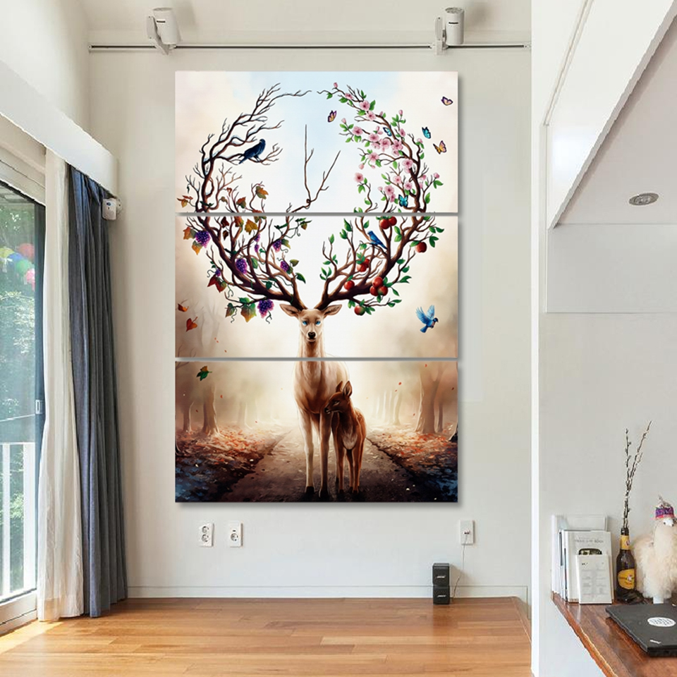 HD printed Canvas 3 piece Art Nordic Poster Dream Forest Elk Oil Painting wall Picture Deer Home Decore Hotel Canvas Painting in Painting Calligraphy from Home Garden
