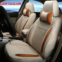 CARTAILOR Cover Seats Custom Fit for Fiat Punto Auto Parts Accessories Linen Car Seat Covers &Support Ventilated Car Cushion Set