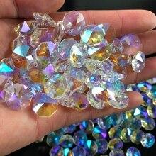 10 шт. кристалл AB стекло лампа Призма цепь для люстры часть DIY восьмиугольник орнамент из бисера