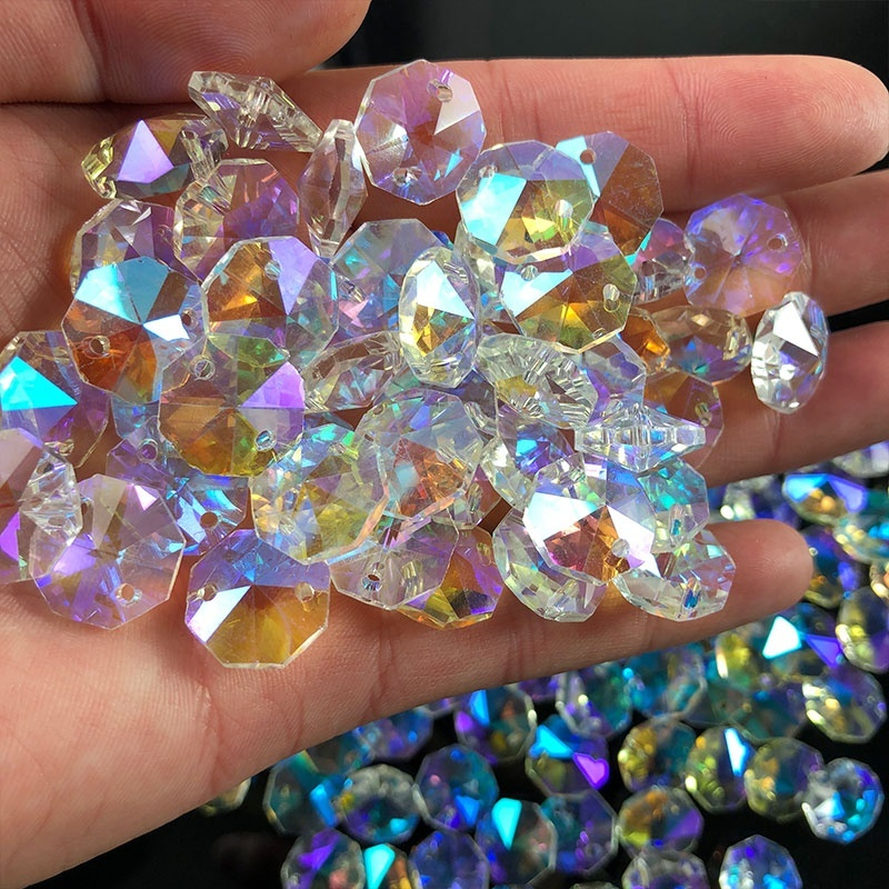 10Pc Crystal AB Glass Lamp Prism Chandelier Chain Part DIY Octagon Bead Ornament