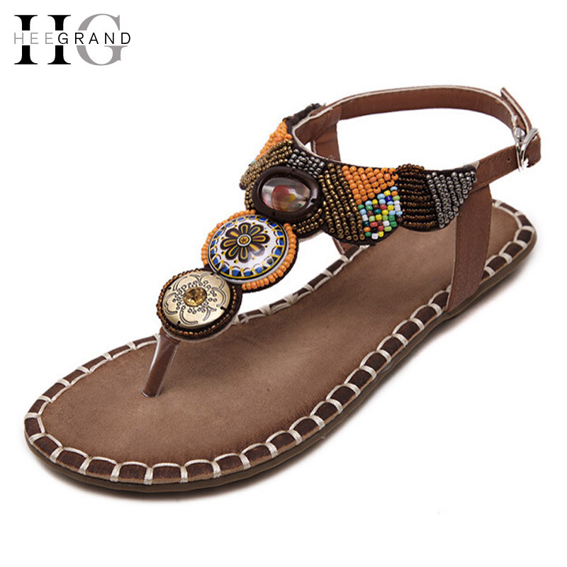HEE GRAND Bohemia Gladiator Sandals Summer Flip Flops Slip On Flats Vintage Shoes Woman Beaded Creepers Women Shoes XWZ3363 hee grand lace up gladiator sandals 2017 summer platform flats shoes woman casual creepers fashion beach women shoes xwz4085