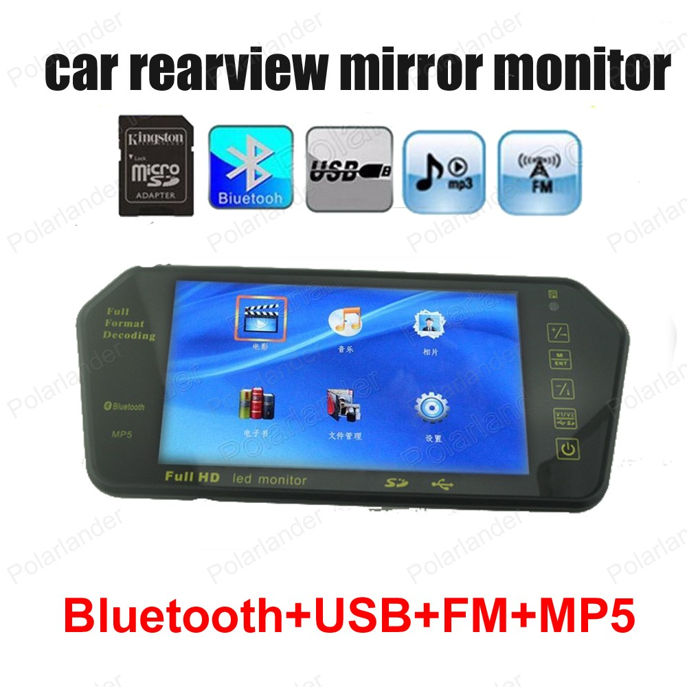 1024*600 LED Screen In Car 7 Inch Rearview Mirror  Media Player FM Transmitter Bluetooth Hands Free Kit Reverse Parking p3 player bluetooth hands free car bluetooth headset transmitter receivers f