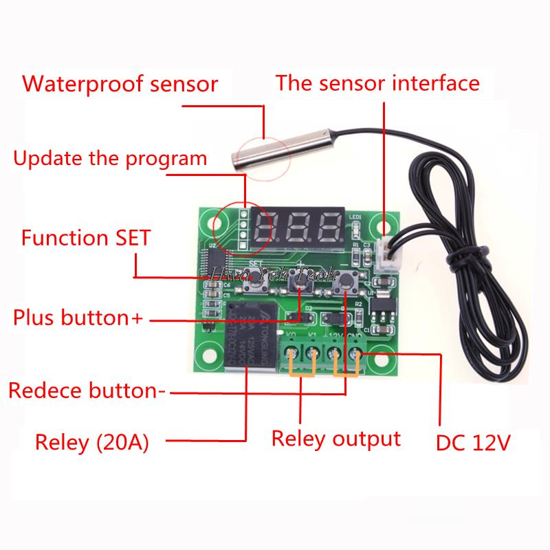 wiring an led circuit with transistor 1pcs w1209 dc 12v heat cool temp thermostat temperature  1pcs w1209 dc 12v heat cool temp thermostat temperature