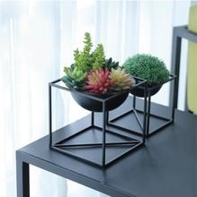 European iron art flower pots living room decoration balcony small rack
