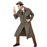 Mens Sherlock Holmes Cosplay Costume Plaid Coat with Cap Great Detective Costumes Halloween Masquerade Party Suit