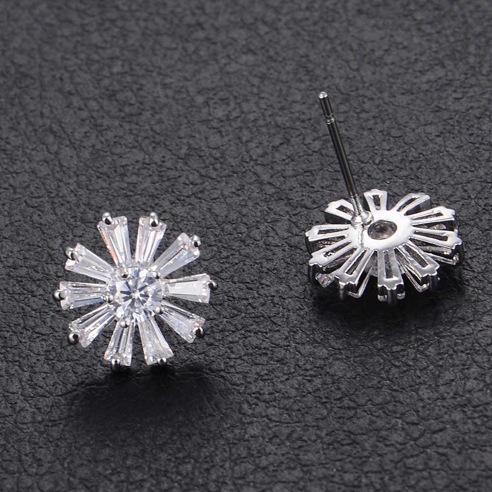 12 MÉT Dễ Thương Plant Daisy Full Cubic Zirconia Stud Earrings Đối Với Bridal Engagement Bông Tai Trang Sức