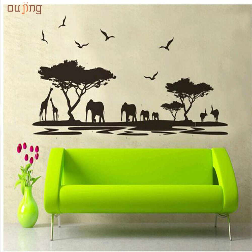 Happy <font><b>home</b></font> <font><b>African</b></font> Animals Removable Wall Stickers Art Decals Mural for Living Room Bedroom <font><b>Home</b></font> <font><b>Decor</b></font>