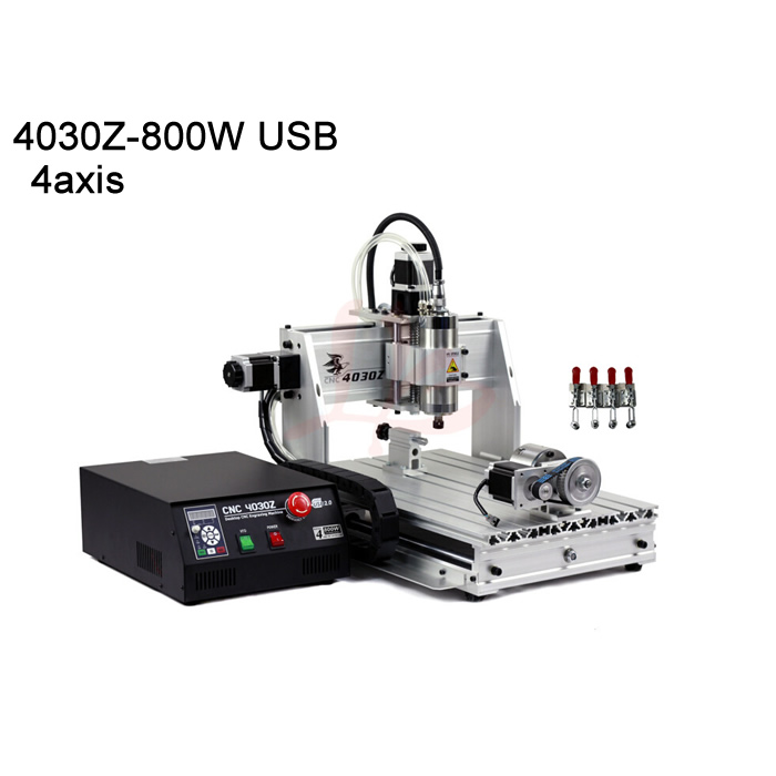 USB port 4axis cnc router machine 3040 ball screw 800W VFD water cooling spindle mach3 control high precision cnc router wood milling machine cnc 3040z vfd800w 3axis usb for wood working with ball screw