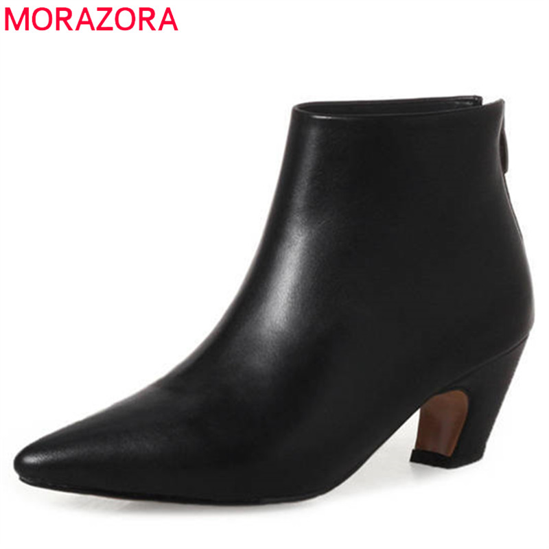 MORAZORA 2018 new fashion pointed toe genuine leather boots zipper short plush autumn winter ankle boots for women dress shoes women genuine leather spring autumn ankle boots short plush inside for winter short boots fashion round toe boots 6