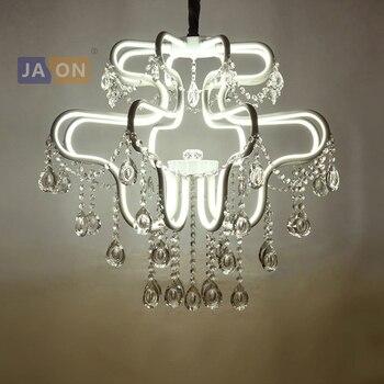 LED Européenne Fer Aluminium Acrylique Blanc Cristal Lustre Éclairage Lamparas De Techo Suspension Luminaire Lampen Pour Foyer