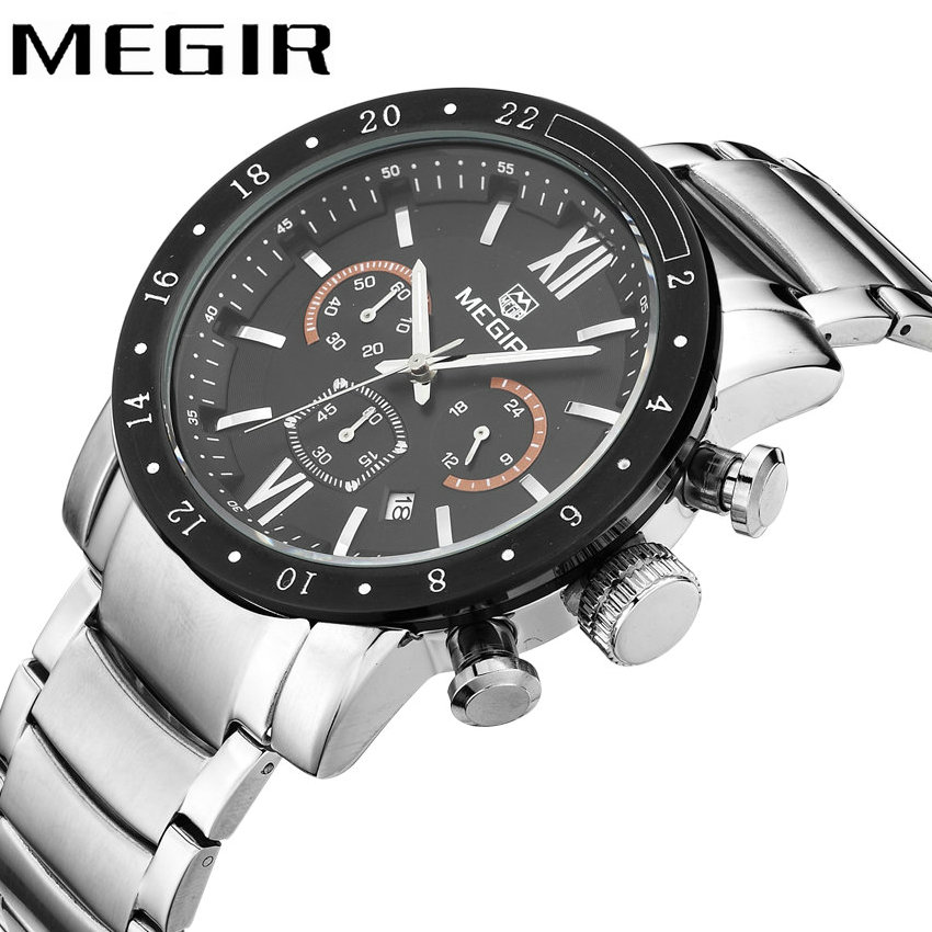 MEGIR Military Business Men Watches Multifunction Chronograph Quartz Movement Stainless Steel Strap Roman Number Luminous Hands все цены