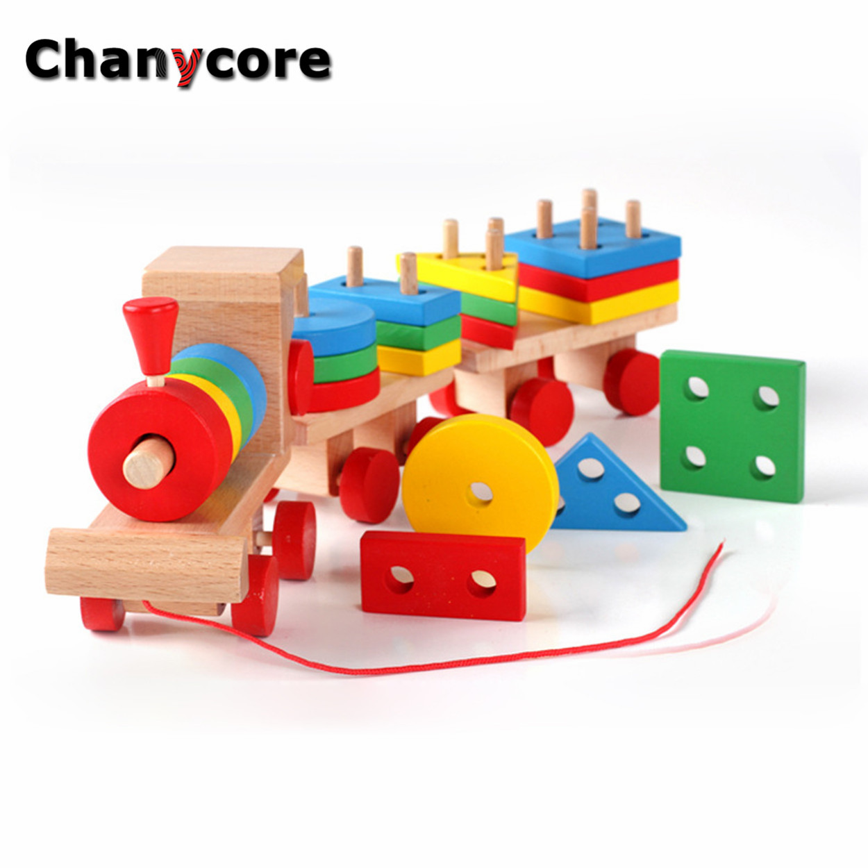 Baby Learning Educational Wooden Toys Geometric Shape Blocks Column Board Train Sorting Matching qzm Montessori Kids Gifts 4094