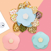 Double Dried Fruit Storage Box Petal Plate Wedding Candy Container Nut Snack Rotating Organizer