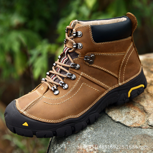 Hiking Boots Men Leather Trekking Outdoor Shoes Fleece Lining Warm Winter  Sneaker Army Combat Boots Hiking Climbing Footwear 6c5be7860