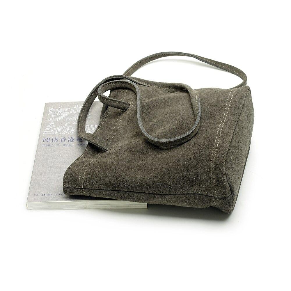 New Design Shoulder Handbag Women Real Split Suede Leather Bucket Bag Leisure Small Top-handle Bags Lady Casual Crossbody