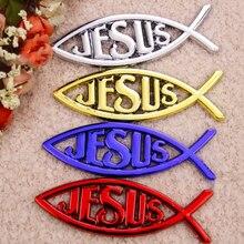 Иисус рыбы стайлинга автомобилей Стикеры багажнике эмблема Значки Красный Золотой хром синий доставка бесплатная