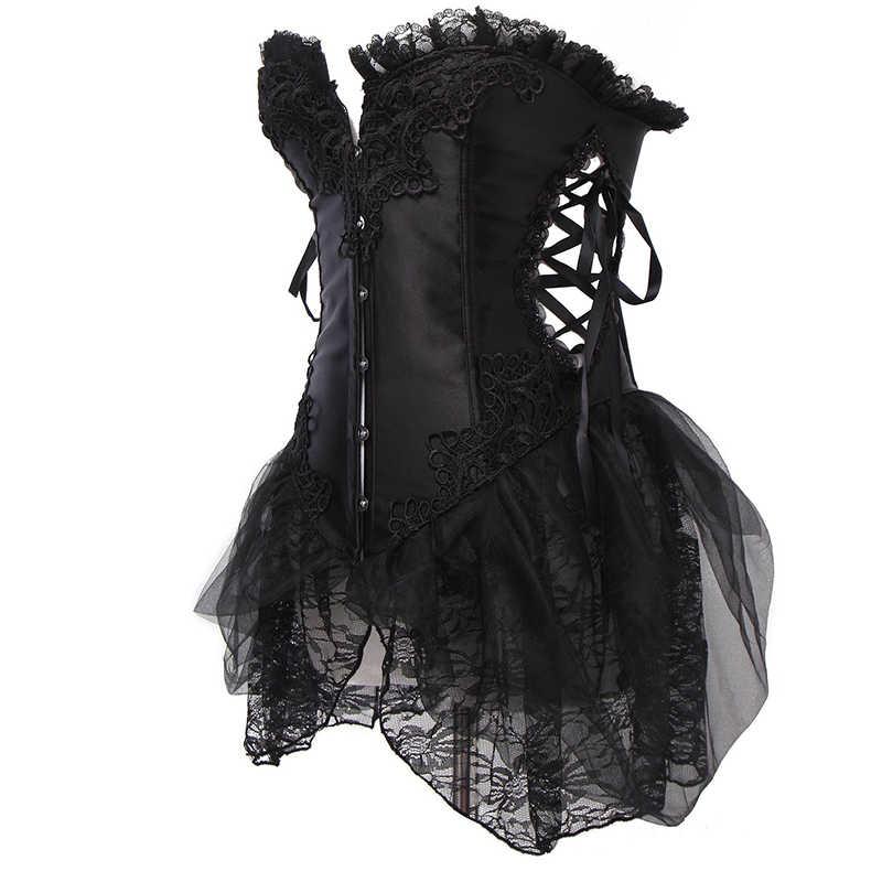 Сексуальный корсет, закрывающий грудь, сексуальные стимпанк Корсеты и бюстье с юбкой Топ кружевной корсет с юбкой Плюс Размер Горячая Распродажа